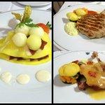 Ensalada de melón, mango y jamón y platos principales (pato y solomillo)