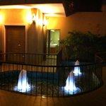 Small fountains near the restaurant
