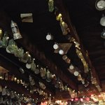 The bottles on the ceiling
