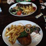 Our food, steak and chicken kiev