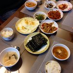 Korean breakfast prepared by Mrs. Jung