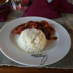 Grilled Pron with steamed rice Camaron Beach Club