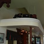 Cute little toy trian that runs through the top of the restaurant