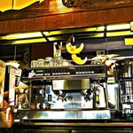 The beautiful back bar and espresso machine.
