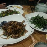 Pork belly and vegetables, sautéed string beans, and mongolian beef