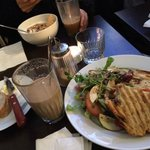 Toasted sandwich, amazing coffee and yoghurt with home-made granola