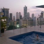 sunset on rooftop pool