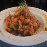 Seafood Linguini Diablo, Sautéed selection of seafood in a tomato basil sauce with a fiery kick
