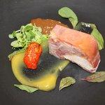 Ham Hock and Guinea Fowl Terrine with Orange Fluid Gel and Sultana