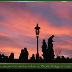 THE PEOPLE & STATUES ON CHARLES BRIDGE ARE ALMOST IDENTICAL AT SUNSET!