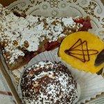 Fruit tart, apricotene, and chocolate bowl