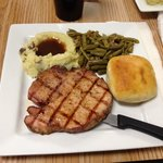 Smoked then grilled pork chop. Real mashed potatoes.