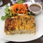 Shrimp quiche with yummy house dressing.
