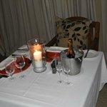 dinner setup in room honeymoon