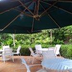 Back fountain garden Starbucks Cafe patio