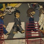 Cool Beatles mural at the entrance