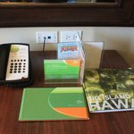 Table in room with phone and reference book.