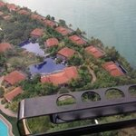 Pool next to beach villas from cable car