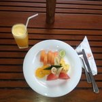 Fruit platter and orange juice