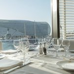 Roof to floor windows overlooking stunning Yas Marina...