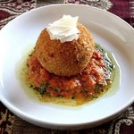 Mac & Cheese Bomba - with charred tomato and almond confit