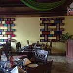 The decor of the restaurant is quite colorful