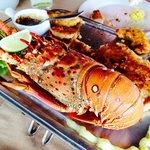 Prato misto : lagosta, camarão e peixe. Mto bom