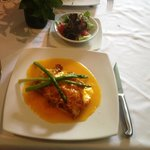 Chicken with mandarin sauce and asparagus