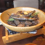 grilled fish on hot stones - breakfast