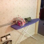 Set up ironing board for counter space