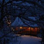 Cozy Cabin 14 on a cold winter night