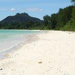 вид на пляж отеля со стороны поселка