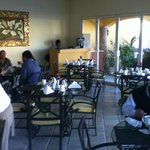 Indoor or outdoor seating for breafast, lunch or dinner.