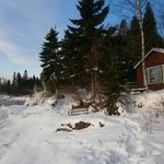 Looking south along the shore.  Red cabin is the Jonas house