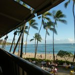 Waikiki beach from our table on the rail at The Hula Grill