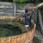Wooden hot tub.