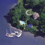 Aerial view of Bay Cottage, St. Michaels, MD