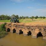 Jeep on the ancient bridge, Siem Reap
