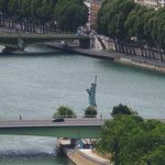 River Seine with Mini Statue of Liberty from Eiffel Tower