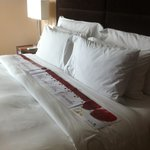 Banner on the king-sized bed