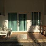 Each room has a small patio
