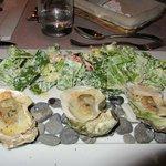 Very original presentation of Caesar Salad & Baked Oysters!
