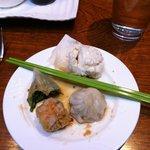 BBQ pork bun, pork dumpling, shui mai, & vegetarian pea shoot dumpling
