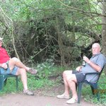Sitting in the little glade outside our chalet