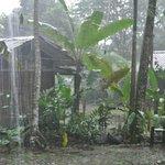 Hütten bei Regen