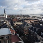 View of St. Louis Cathedral and Mississippi River from rooftop observatory