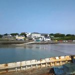 View of Kilronan Hostel from afar. The sign is visible as you pull into harbor, which is helpful