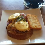 Eggs Benny with bacon.