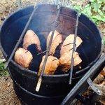 Ribs in a barrel cookin'