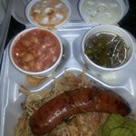 BBQ plate with green beans, baked beans.